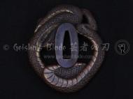 Nagamushi (Snake) Brass Tsuba 2