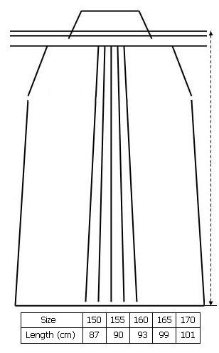 hakama size chart